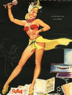 """""""I'll Be With You In A Shake"""". Pin up art by Freeman Elliot #pin up"""