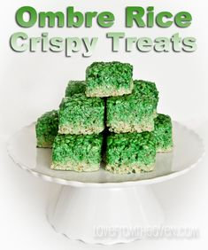 Ombre Rice Crispy Treats by Love From The Oven For St. Patrick's Day.