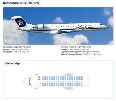 ALASKA AIRLINES BOMBARDIER CRJ-700 AIRCRAFT SEATING CHART