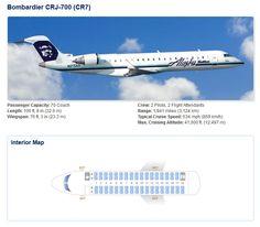 ALASKA AIRLINES BOMBARDIER CRJ-700 AIRCRAFT SEATING CHART