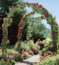 garden archways covered with flowers
