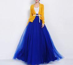 Blue Tulle Floor Length Full Pleated Skirt