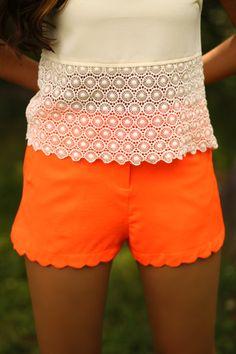 citrus shorts, lace tops, orang, color, sunni citrus, summer outfits, boho, crochet tops, shirt