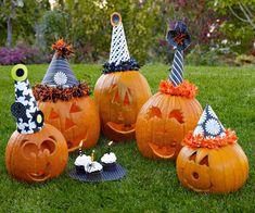 Help your pumpkins celebrate their birthdays! More funny pumpkin carving ideas: http://www.bhg.com/halloween/pumpkin-decorating/funny-pumpkin-carving-ideas/?socsrc=bhgpin101713pumpkinbirthdayparty&page=6