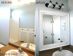 Upgrade the look of those plain, ugly  builder's grade mirrors that most of today's new homes have.  Build a simple frame out of moulding and adhere it to the old mirror with a few dabs of construction adhesive.  Gives the room an instant decorator's look.  Love this idea!