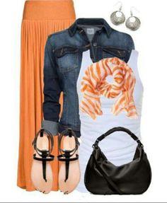orange maxi skirt and matching scarf