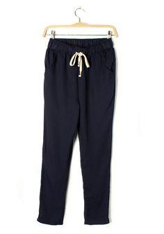 Blue Drawstring Mid Waist Long Chiffon Pants