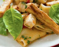 Rigatoni with Swordfish, Tomato, and Eggplant Fries