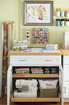 Transform a cabinet into a self-contained storage area. Store fabric, rickrack, and embellishments on one shelf and your sewing machine on another to keep supplies out of sight (but not out of mind!).