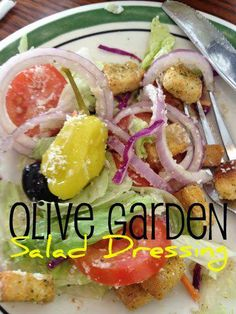 Olive Garden Salad Dressing ◾1/2 C. mayonnaise ◾1/3 C. white vinegar ◾1 tsp. vegetable oil ◾2 Tbsp. corn syrup ◾2 Tbsp. Parmesan cheese ◾2 Tbsp. Romano cheese ◾1/4 tsp. garlic salt ◾1/2 tsp. Italian seasoning ◾1/2 tsp. parsley flakes ◾1 Tbsp. lemon juice  Toss with fresh tomatoes, Vidalia onions, black olives, croutons, pickled pepperoncini and freshly grated Parmesan cheese to give you a true Olive Garden restaurant experience.