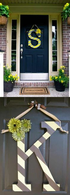 Create a wreath for your front door with your initial!  Surrounded with baskets of coordinating flowers, this provides such an inviting entry into your apartment.