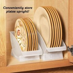 Plate cradles take plate storage to the max. Organizers stand plates upright to make the most out of every crevice of cabinet space. Securely stores up to 6 standard-size salad/dessert plates or dinner plates. Perfect for sink-side drying and buffet self-service, too. Dishwasher safe polypropylene. $7-9