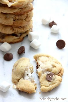 Reminiscent of our s'mores bar recipe (http://wp.me/p2j20z-Ln), these look amazing! Perfect S'more Cookies Recipe from bakedbyrachel.com
