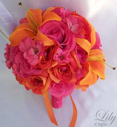 """Wedding Bridal Bouquets Silk Flowers bouquet Decoration 17 pieces Package FUCHSIA ORANGE LILY """"Lily of Angeles"""""""