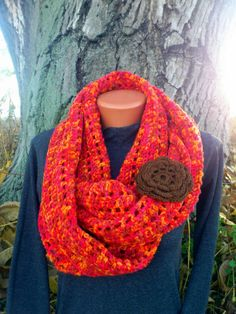 Knit Infinity Scarf with flower