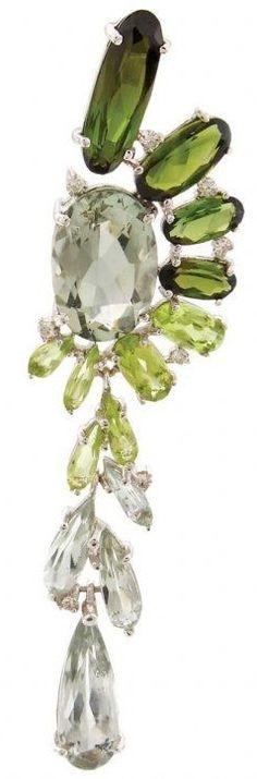 Tourmaline, peridot and diamond earrings by Vianna