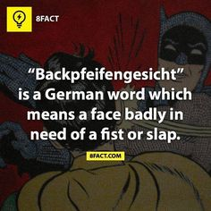 8fact | Backpfeifengesicht is a German word which means a face badly in need of a fist or slap.