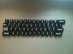 I teach Computer Technology and made this wall size keyboard for my classroom out of to go boxes donated from Chick-fil-a, idea from Paula Crossley!