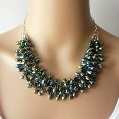 Sparkling Crystal Statment Necklace Peacock by FiveLittleGems