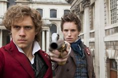 Enjolras (Aaron Tveit) and Marius (Eddie Redmayne), Les Miserables  *fangirl screams*