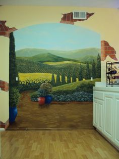 French countryside kitchen mural by San Diego muralist Anna Parker of murAlchemy
