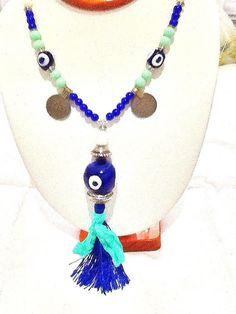 SALEMYKONOS NIGHTS necklace  evil eye necklace bohemian by Nezihe1, $32.00