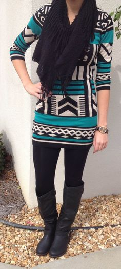 entourag cloth, tribal print outfits, black scarf, sweater dresses, black leg, legging boots, tribal prints, tribal print sweater, tribal print leggings outfit