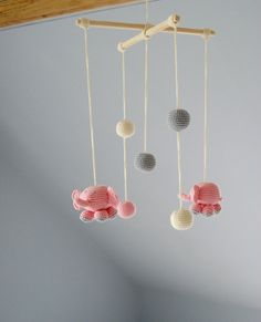 Baby Mobile  Pink Elephants  Crochet Hanging by YarnBallStories, $58.00