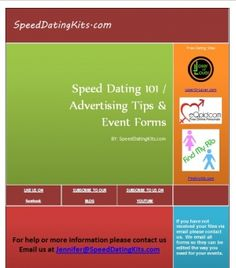Speed dating business kit!  Speed Dating 101, Speed Dating Forms, Advertising Tips, Images, Templates and more!