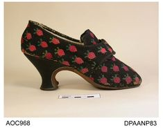 Shoes worked with strawberries 1760-1770, Hampshire City Council museum