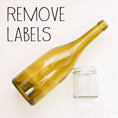 How to easily remove sticky labels from glass bottles and jars.  use bath tub for multiple bottles!