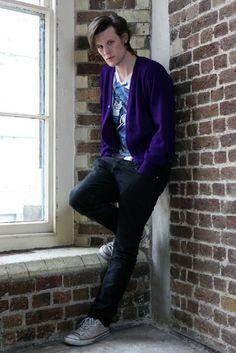geek, shades of purple, purpl jacket, dr who matt smith, smithth eleventh