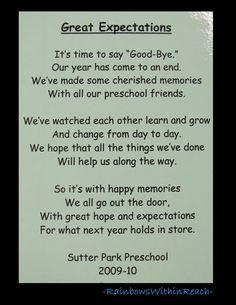 Poem for end of School, Preschool rhyme for goodbye via RainbowsWithinReach