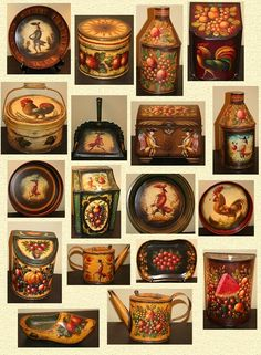 Some of the works of Peter Ompir. Peter was a master of design and colour and used antiquing to add depth and warmth to his work. His primitive style fruit and characters with a pointed nose, military-style clothing and often carrying oversized objects such as strawberries are typical of the Ompir style folk art painting. In the 1950s Peter Ompir met Warner Wrede and together the two of them painted, signing the pieces 'Peter Ompir.'