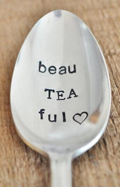 BeauTEAful   Hand Stamped Vintage Spoon for TEA