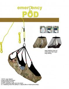 Prepper pod! need this for camping! i want to sleep in the tree tops.