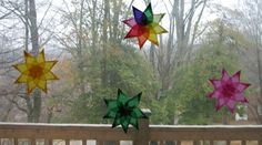 Window star tutorial. I started with these then bought a book on it and have advanced. A fun, cheery project! If you can't find the wax kite paper, I've used craft tissue and wet it so the colors bleed. Fun effects!