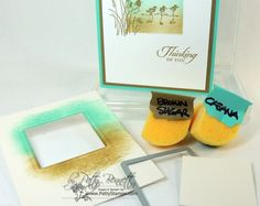 www.PattyStamps.com - use the square framelits and the Coaster Board to make an easy stencil - sponge Coastal Cabana and Baked Brown Sugar for this easy card