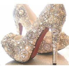 Found this on an inspirational website with lots of wedding ideas. pearl, wedding shoes, bling shoes, dream, wedding ideas, heel, fairy tales, fairi, future wedding