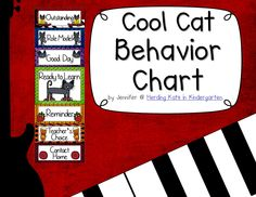 Cool Cat Themed Behavior Clip Chart! This is a perfect classroom management tool featuring a cool cat and music themed backgrounds!