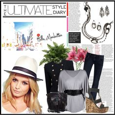 New York Nights, created by debbie-houston-angulo on Polyvore.  Urbanite Necklace & earrings or Cha-Cha earrings for a little va-va voom!