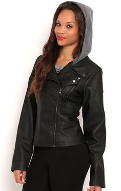 Deb Shops Faux Leather Quilted Moto Jacket with Fleece Hood $30.00