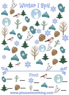 Winter I Spy Game - free printable seek and find game! pleasantest thing, preschool winter activities, winter games, spies, kid stuff, spi game, winter preschool ideas, printabl winter, school ideasseason