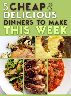 Pan-Fried Tilapia with Cauliflower, Capers, and Raisins, Picadillo Shepherd's Pie, Moroccan-Style Stewed Chicken with Olive Couscous, Balsamic Onion-Topped Pork Chops with Crisp Garlic Potatoes, and Pear and Arugula Salad with Roasted Chickpeas, Sweet Onions and Potato Wedges