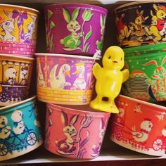 Collection of vintage dixie cups with Easter graphics. These were intended to be used as Easter baskets after a string handle was added.