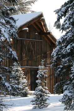 Beautiful barn in winter