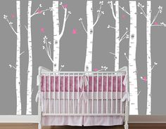 Birch Tree Wall Decal with Flying Birds, Birch trees, Birch forest, Birch Trees Wall Vinyl for Nursery, Living Room, Kids or Childrens Room