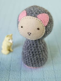 Crocheted Baby Rattle Grey/Pink Cat by HelloKia on Etsy