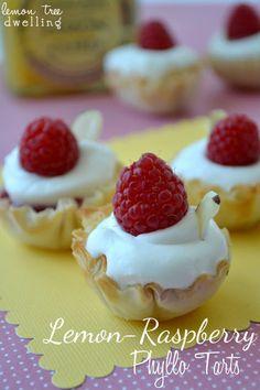Lemon Raspberry Phyllo Tarts (with almond whipped cream!) www.oneshetwoshe.com #recipes #desserts