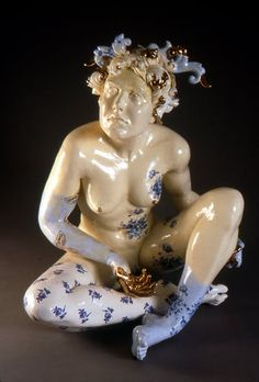 """Christyl Boger. Delft Figure. 26"""" in height. Whiteware wit decals and luster."""
